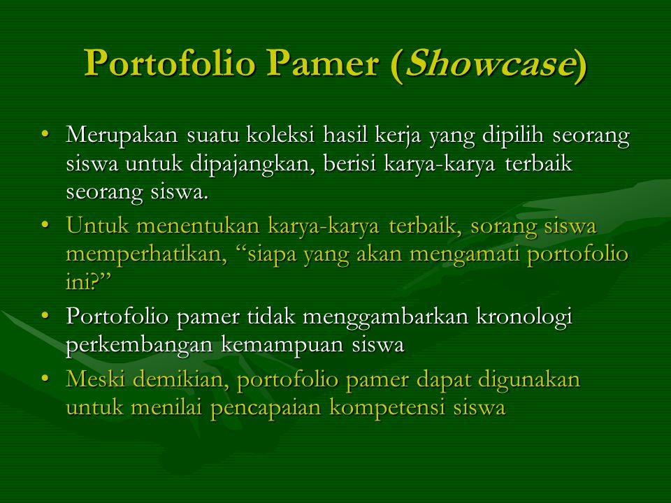 Portofolio Pamer (Showcase) Merupakan suatu koleksi hasil kerja yang dipilih seorang siswa untuk dipajangkan, berisi karya-karya terbaik seorang siswa.Merupakan suatu koleksi hasil kerja yang dipilih seorang siswa untuk dipajangkan, berisi karya-karya terbaik seorang siswa.