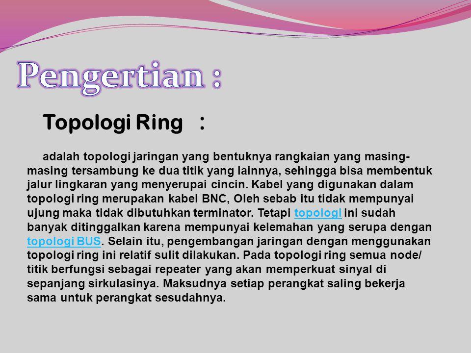 Topologi Ring : adalah topologi jaringan yang bentuknya rangkaian yang masing- masing tersambung ke dua titik yang lainnya, sehingga bisa membentuk jalur lingkaran yang menyerupai cincin.