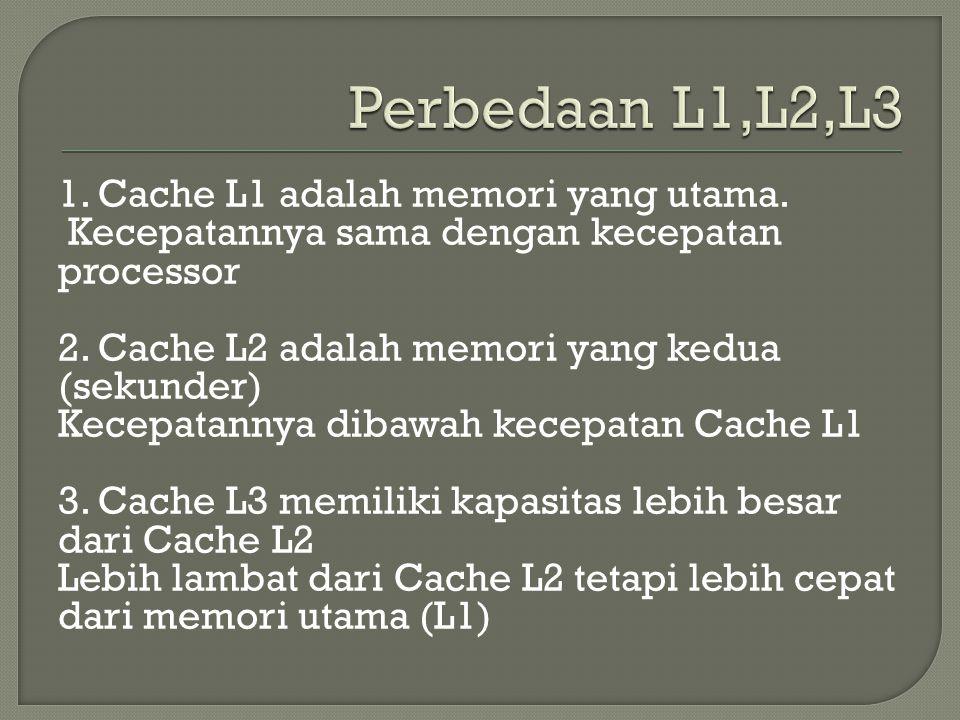 1. Cache L1 adalah memori yang utama. Kecepatannya sama dengan kecepatan processor 2. Cache L2 adalah memori yang kedua (sekunder) Kecepatannya dibawa
