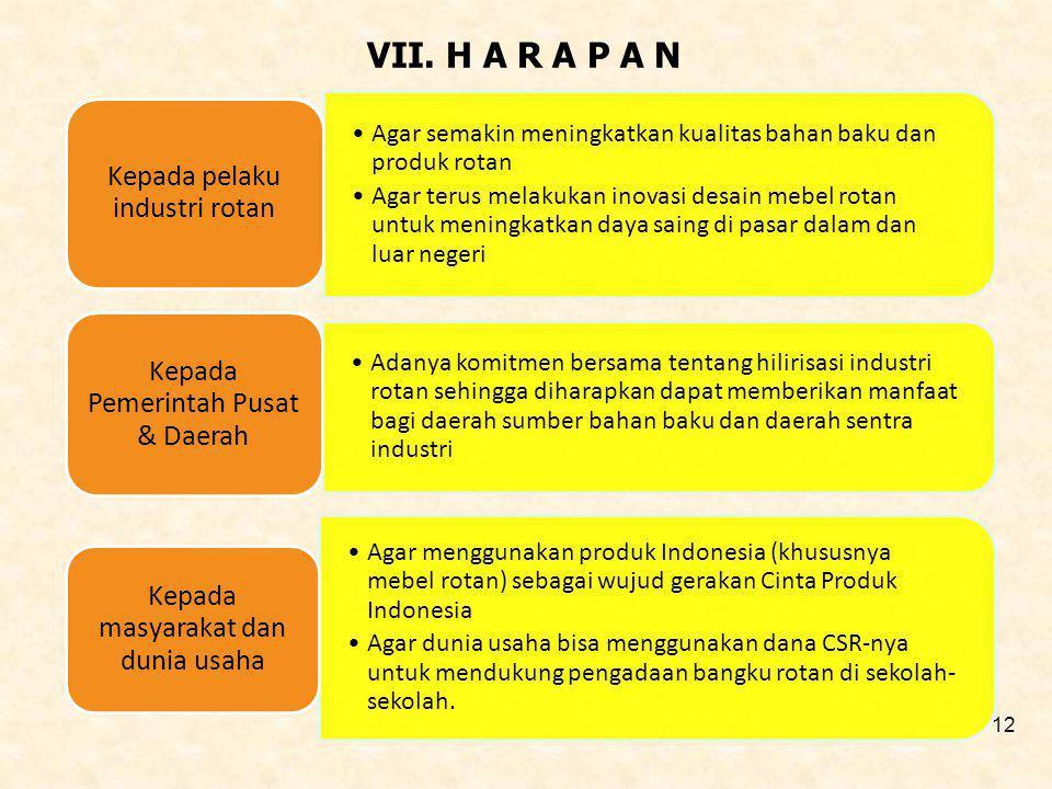 VII. H A R A P A N Agar semakin meningkatkan kualitas bahan baku dan produk rotan Agar terus melakukan inovasi desain mebel rotan untuk meningkatkan d