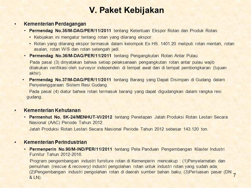 V. Paket Kebijakan Kementerian Perdagangan Permendag No.35/M-DAG/PER/11/2011 tentang Ketentuan Ekspor Rotan dan Produk Rotan. Kebijakan ini mengatur t