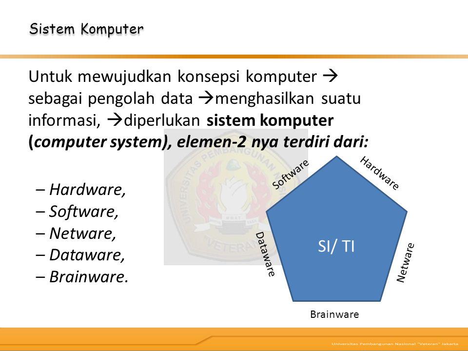 Untuk mewujudkan konsepsi komputer  sebagai pengolah data  menghasilkan suatu informasi,  diperlukan sistem komputer (computer system), elemen‐2 ny