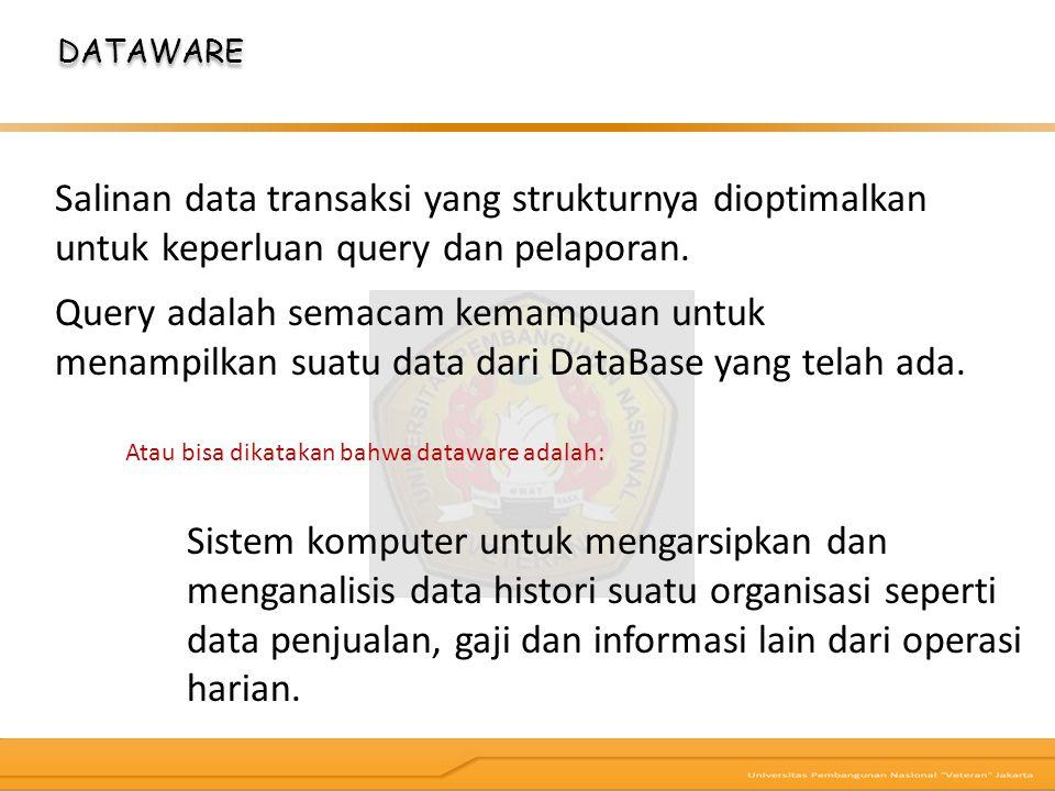 DATAWARE Sistem komputer untuk mengarsipkan dan menganalisis data histori suatu organisasi seperti data penjualan, gaji dan informasi lain dari operas