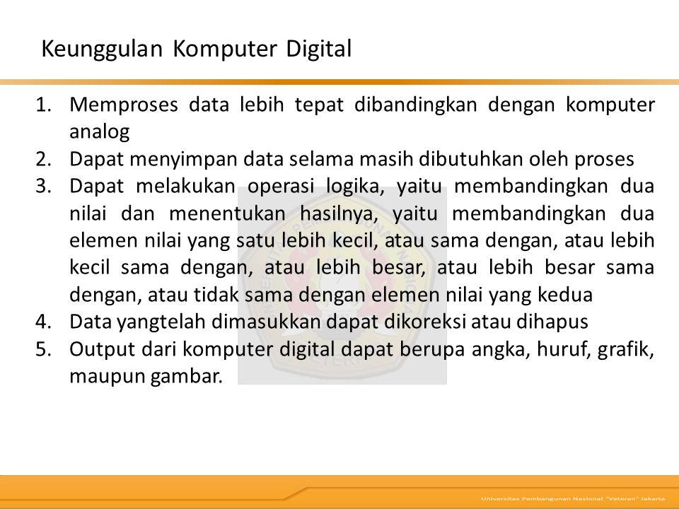 1.Memproses data lebih tepat dibandingkan dengan komputer analog 2.Dapat menyimpan data selama masih dibutuhkan oleh proses 3.Dapat melakukan operasi