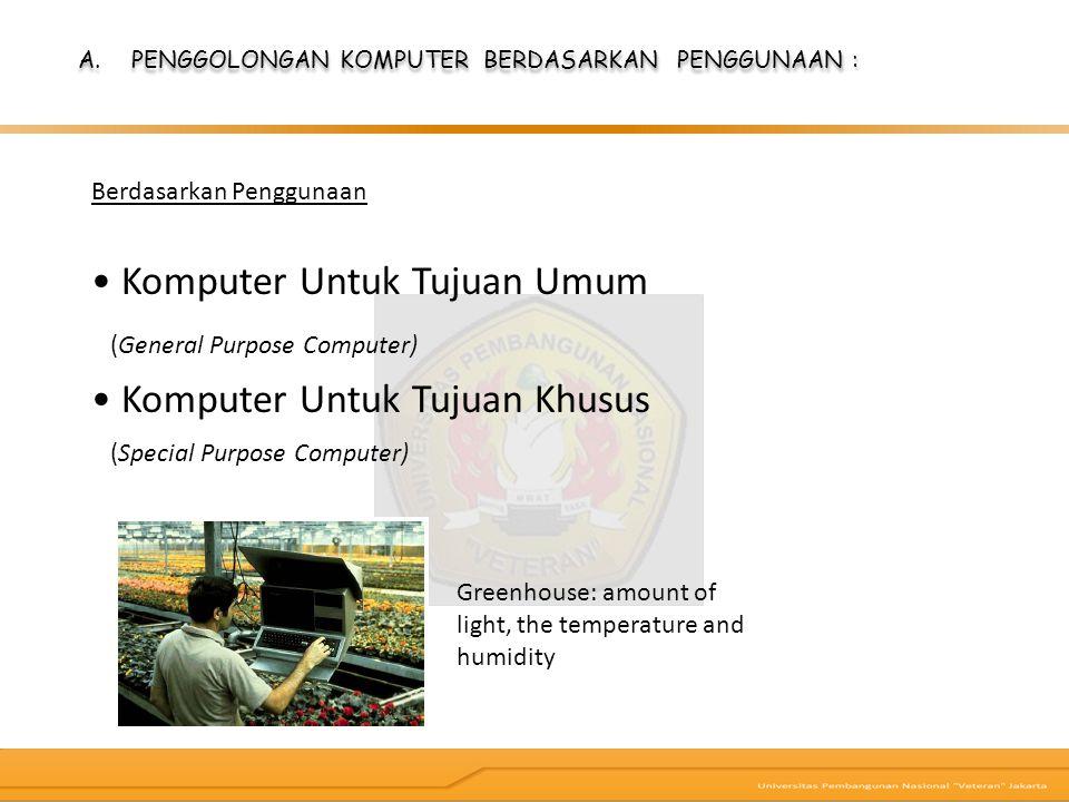 Berdasarkan Penggunaan Komputer Untuk Tujuan Umum (General Purpose Computer) Komputer Untuk Tujuan Khusus (Special Purpose Computer) Greenhouse: amoun
