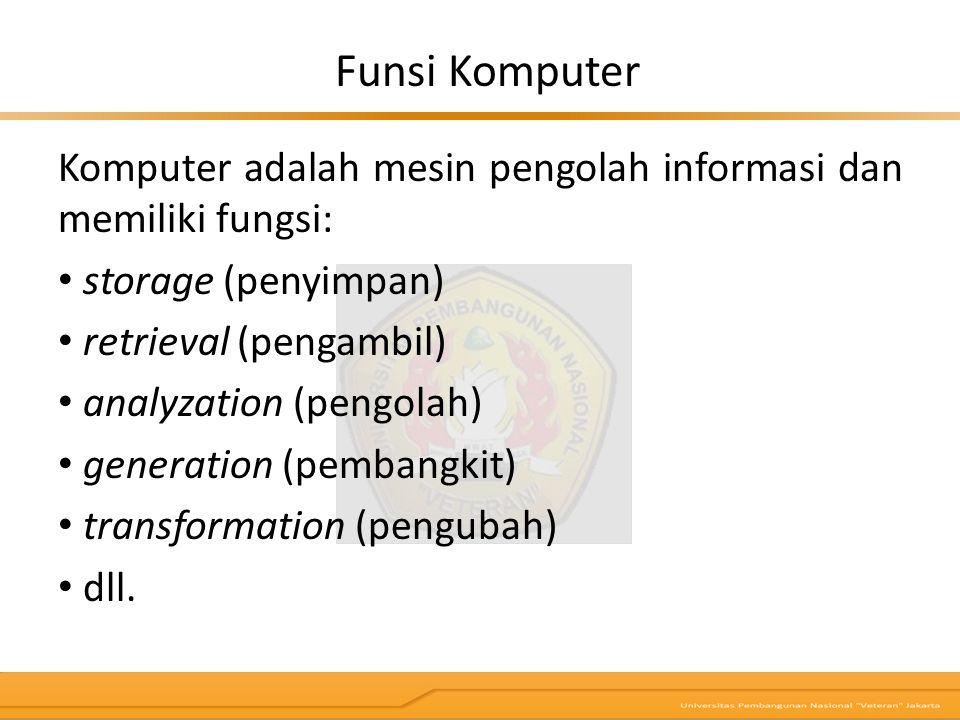 Komputer adalah mesin pengolah informasi dan memiliki fungsi: storage (penyimpan) retrieval (pengambil) analyzation (pengolah) generation (pembangkit)