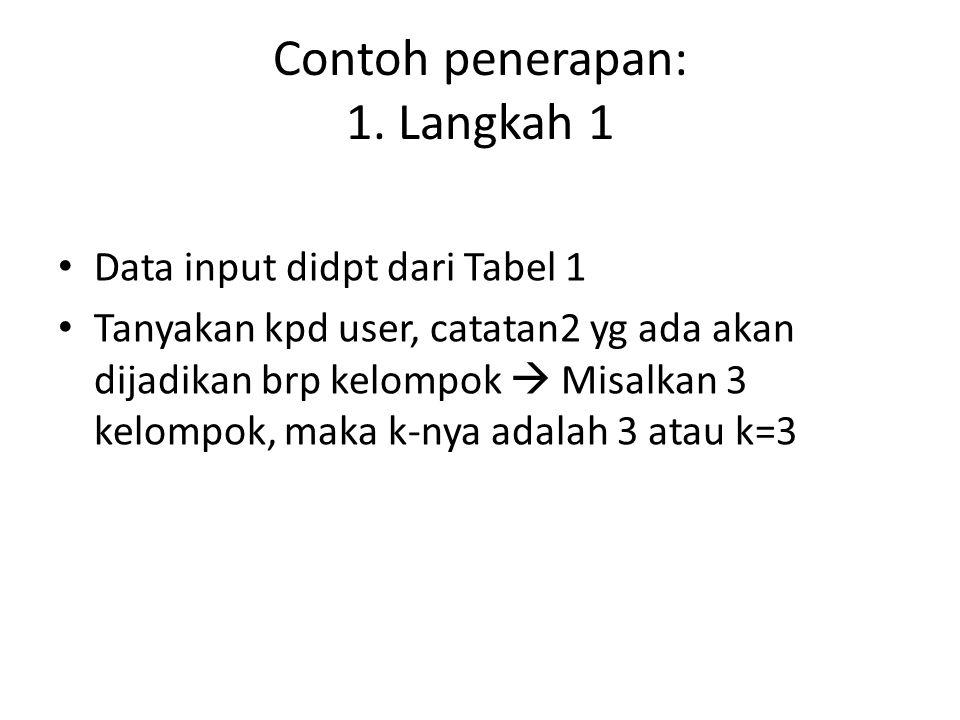 Contoh penerapan: 1. Langkah 1 Data input didpt dari Tabel 1 Tanyakan kpd user, catatan2 yg ada akan dijadikan brp kelompok  Misalkan 3 kelompok, mak