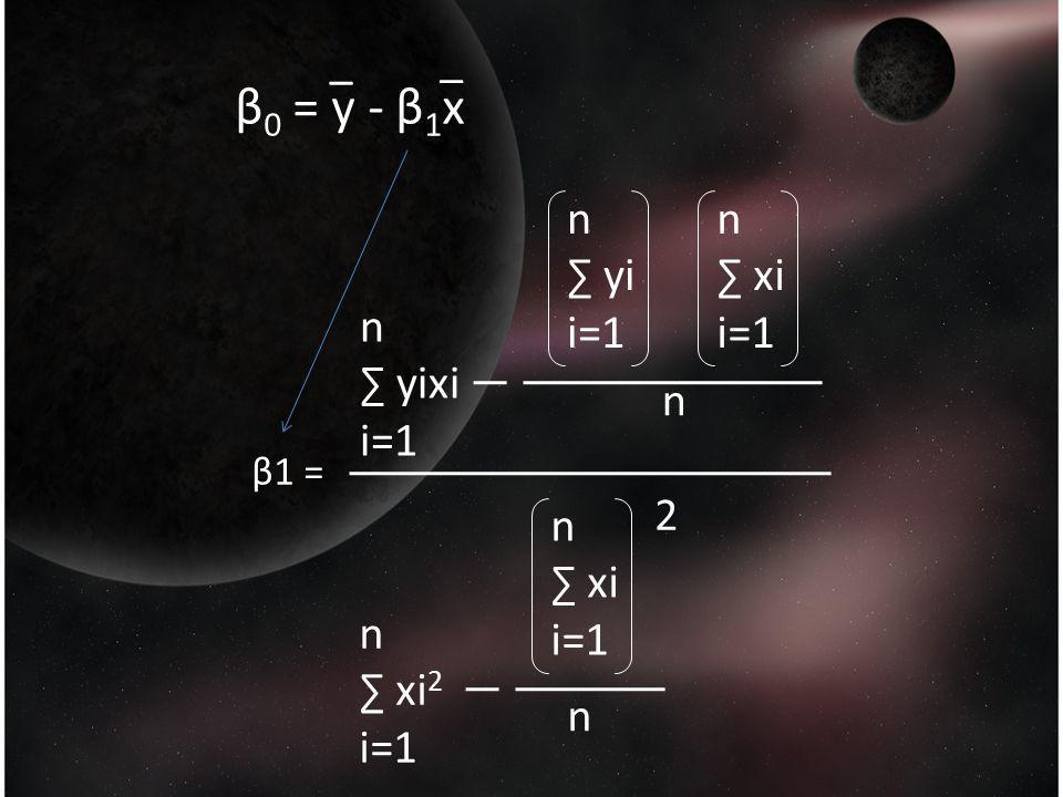 β 0 = y - β 1 x _ _ β1 = n ∑ yixi i=1 n ∑ yi i=1 n ∑ xi i=1 n ∑ xi i=1 n ∑ xi 2 i=1 n n 2