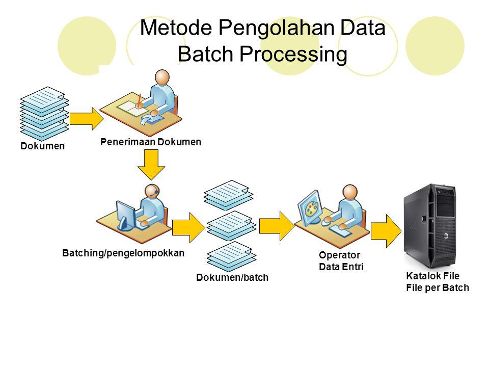 Penerimaan Dokumen Batching/pengelompokkan Dokumen Dokumen/batch Operator Data Entri Metode Pengolahan Data Batch Processing Katalok File File per Bat