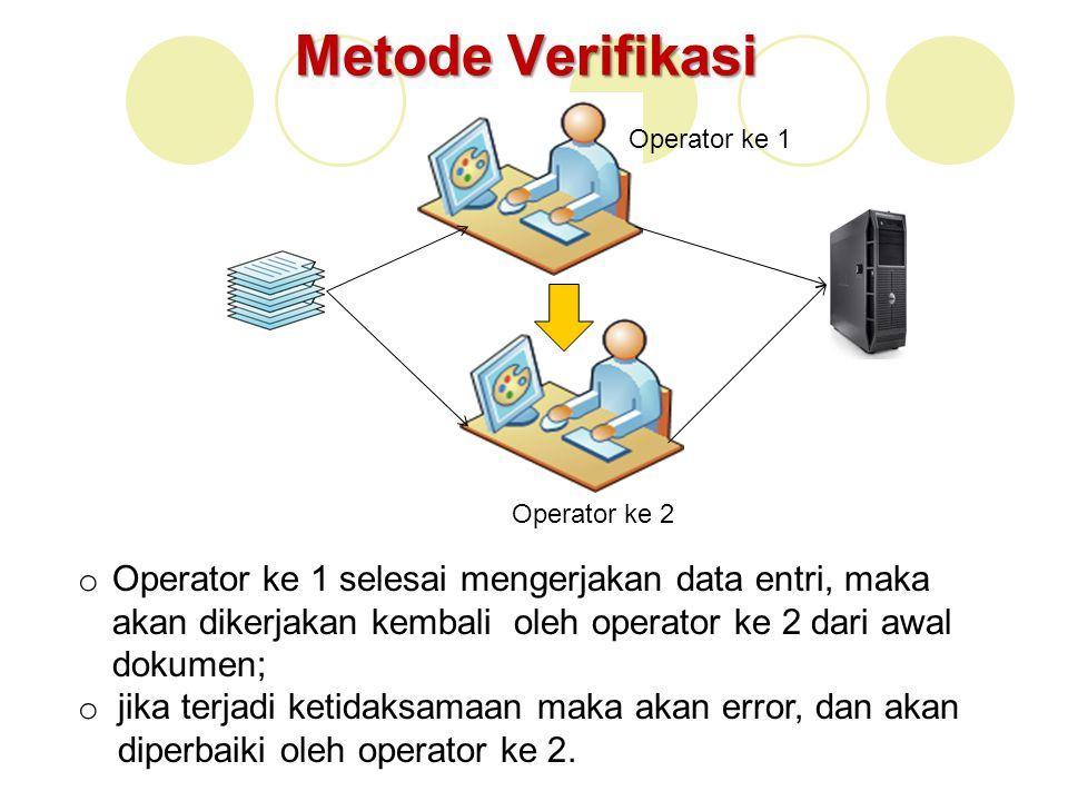 Metode Verifikasi Operator ke 1 Operator ke 2 o Operator ke 1 selesai mengerjakan data entri, maka akan dikerjakan kembali oleh operator ke 2 dari awa
