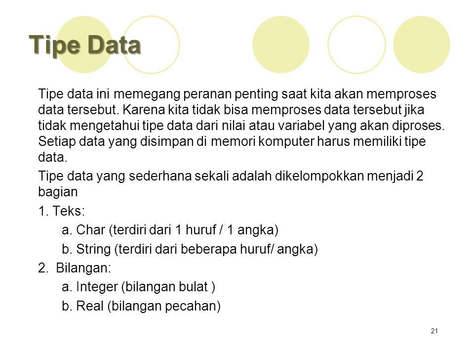Tipe Data Tipe data ini memegang peranan penting saat kita akan memproses data tersebut. Karena kita tidak bisa memproses data tersebut jika tidak men