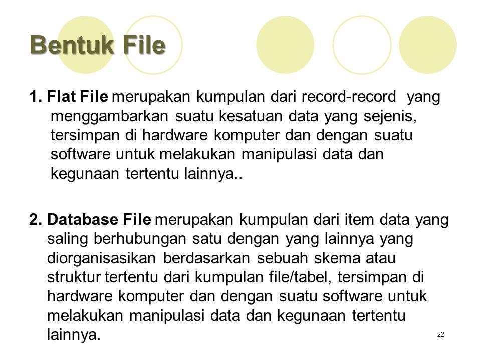 Bentuk File 1. Flat File merupakan kumpulan dari record-record yang menggambarkan suatu kesatuan data yang sejenis, tersimpan di hardware komputer dan