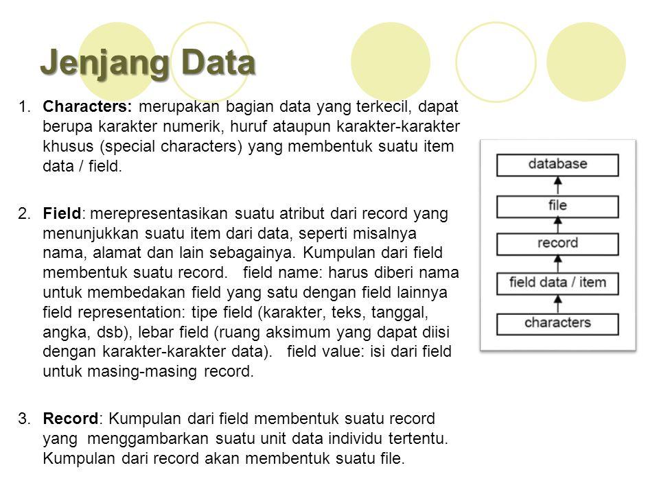 Jenjang Data 1.Characters: merupakan bagian data yang terkecil, dapat berupa karakter numerik, huruf ataupun karakter-karakter khusus (special charact
