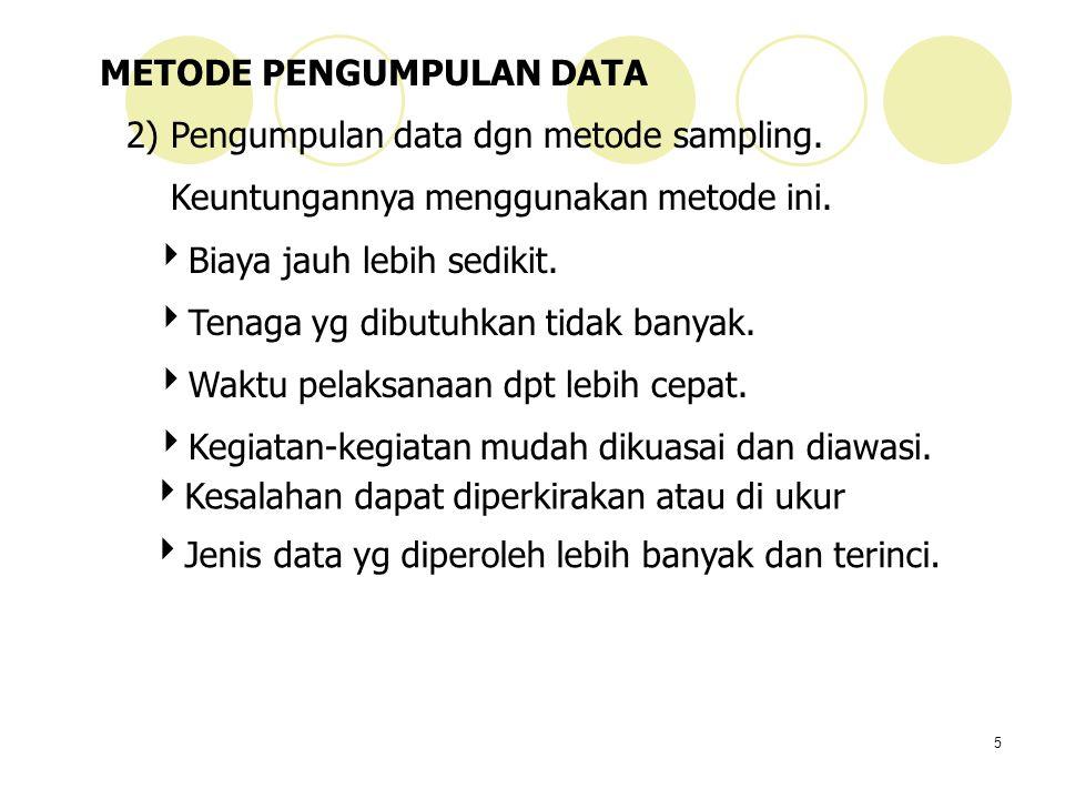 5 METODE PENGUMPULAN DATA 2) Pengumpulan data dgn metode sampling. Keuntungannya menggunakan metode ini.  Biaya jauh lebih sedikit.  Tenaga yg dibut