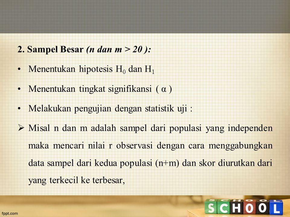 2. Sampel Besar (n dan m > 20 ): Menentukan hipotesis H 0 dan H 1 Menentukan tingkat signifikansi ( α ) Melakukan pengujian dengan statistik uji :  M