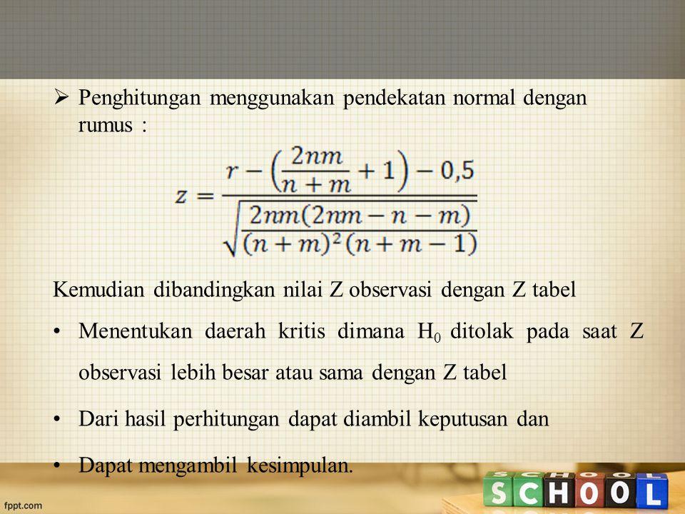  Penghitungan menggunakan pendekatan normal dengan rumus : Kemudian dibandingkan nilai Z observasi dengan Z tabel Menentukan daerah kritis dimana H 0