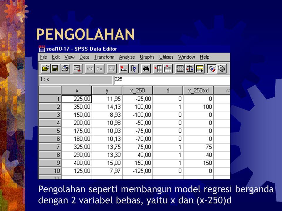 PENGOLAHAN Pengolahan seperti membangun model regresi berganda dengan 2 variabel bebas, yaitu x dan (x-250)d