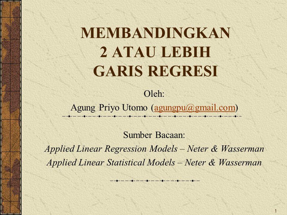 1 MEMBANDINGKAN 2 ATAU LEBIH GARIS REGRESI Oleh: Agung Priyo Utomo (agungpu@gmail.com)agungpu@gmail.com Sumber Bacaan: Applied Linear Regression Model
