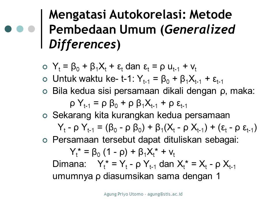 Agung Priyo Utomo - agung@stis.ac.id Mengatasi Autokorelasi: Metode Pembedaan Umum (Generalized Differences) Y t = β 0 + β 1 X t + ε t dan ε t = ρ u t