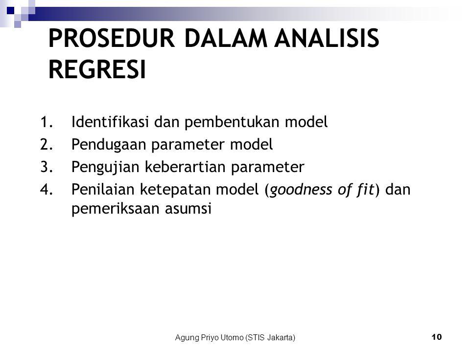 Agung Priyo Utomo (STIS Jakarta)10 PROSEDUR DALAM ANALISIS REGRESI 1.Identifikasi dan pembentukan model 2.Pendugaan parameter model 3.Pengujian keberartian parameter 4.Penilaian ketepatan model (goodness of fit) dan pemeriksaan asumsi