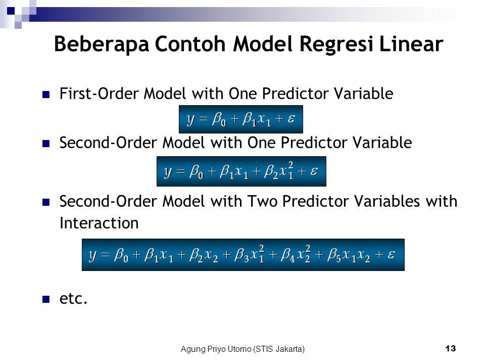 Agung Priyo Utomo (STIS Jakarta)13 Beberapa Contoh Model Regresi Linear First-Order Model with One Predictor Variable Second-Order Model with One Predictor Variable Second-Order Model with Two Predictor Variables with Interaction etc.