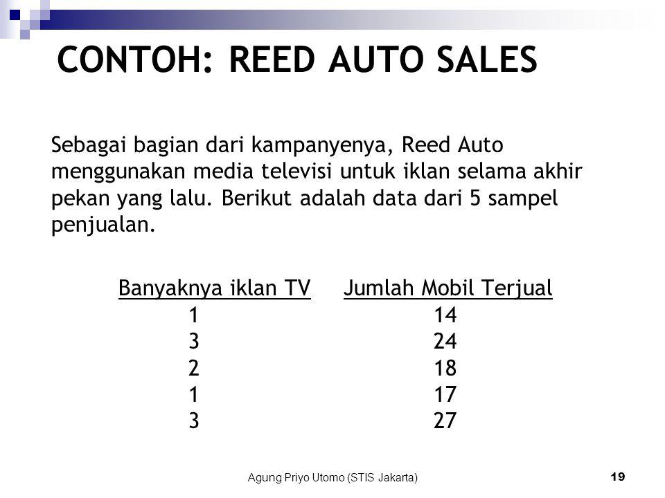 Agung Priyo Utomo (STIS Jakarta)19 CONTOH: REED AUTO SALES Sebagai bagian dari kampanyenya, Reed Auto menggunakan media televisi untuk iklan selama akhir pekan yang lalu.