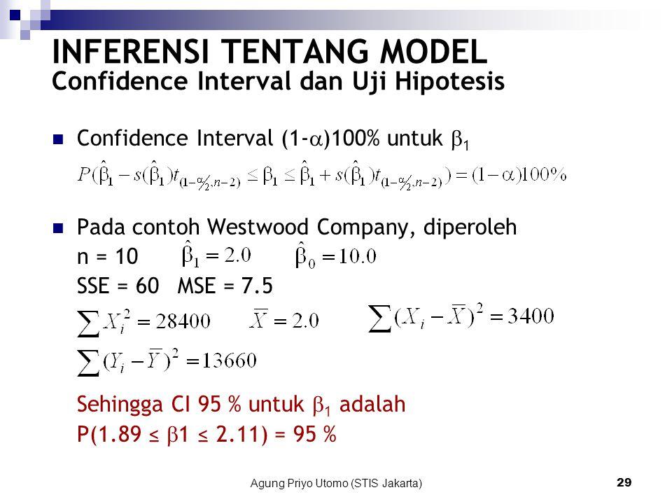 Agung Priyo Utomo (STIS Jakarta)29 INFERENSI TENTANG MODEL Confidence Interval dan Uji Hipotesis Confidence Interval (1-  )100% untuk  1 Pada contoh Westwood Company, diperoleh n = 10 SSE = 60MSE = 7.5 Sehingga CI 95 % untuk  1 adalah P(1.89 ≤  1 ≤ 2.11) = 95 %