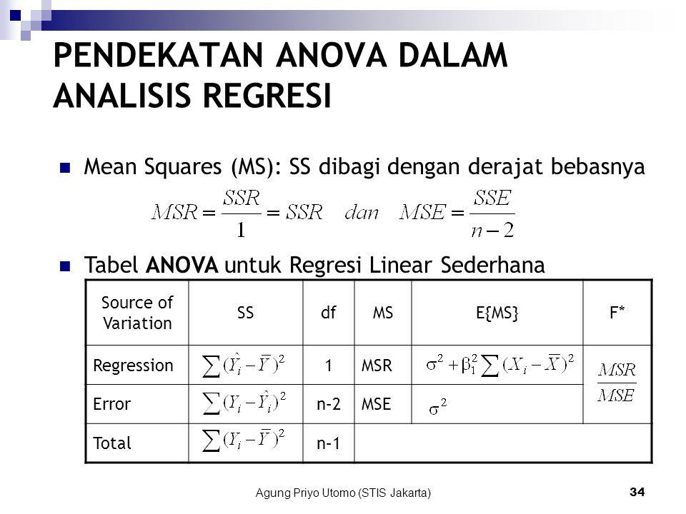 Agung Priyo Utomo (STIS Jakarta)34 PENDEKATAN ANOVA DALAM ANALISIS REGRESI Mean Squares (MS): SS dibagi dengan derajat bebasnya Tabel ANOVA untuk Regresi Linear Sederhana Source of Variation SSdfMSE{MS}F* Regression1MSR Errorn–2MSE Totaln–1