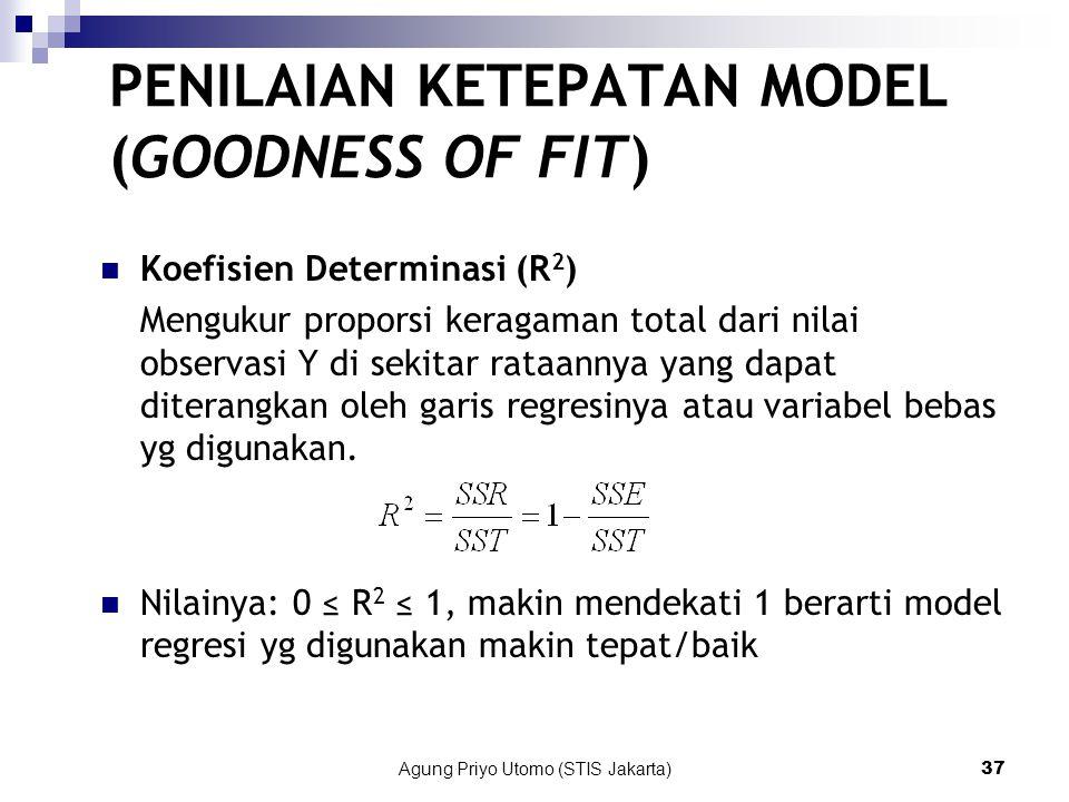 Agung Priyo Utomo (STIS Jakarta)37 Koefisien Determinasi (R 2 ) Mengukur proporsi keragaman total dari nilai observasi Y di sekitar rataannya yang dapat diterangkan oleh garis regresinya atau variabel bebas yg digunakan.