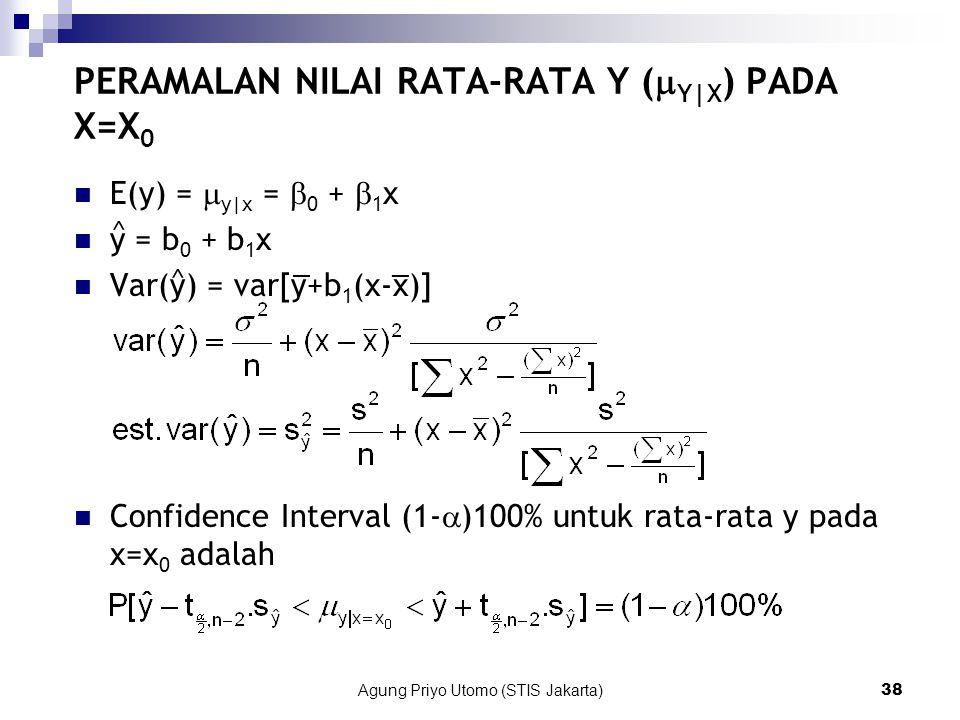 Agung Priyo Utomo (STIS Jakarta)38 PERAMALAN NILAI RATA-RATA Y (  Y|X ) PADA X=X 0 E(y) =  y|x =  0 +  1 x y = b 0 + b 1 x Var(y) = var[y+b 1 (x-x)] Confidence Interval (1-  )100% untuk rata-rata y pada x=x 0 adalah ^ ^ __