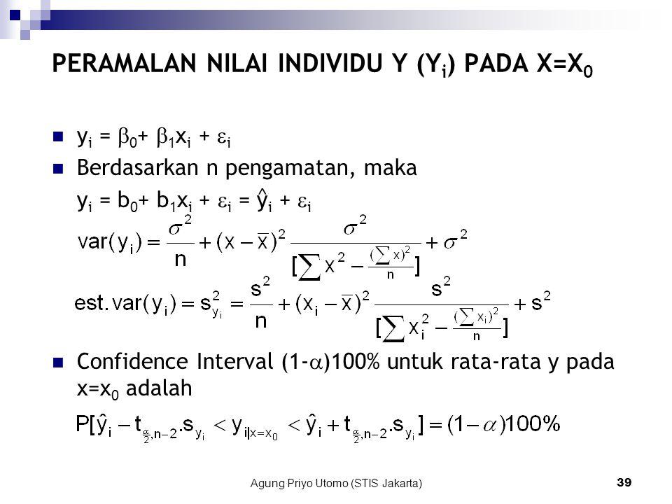 Agung Priyo Utomo (STIS Jakarta)39 PERAMALAN NILAI INDIVIDU Y (Y i ) PADA X=X 0 y i =  0 +  1 x i +  i Berdasarkan n pengamatan, maka y i = b 0 + b 1 x i +  i = y i +  i Confidence Interval (1-  )100% untuk rata-rata y pada x=x 0 adalah ^