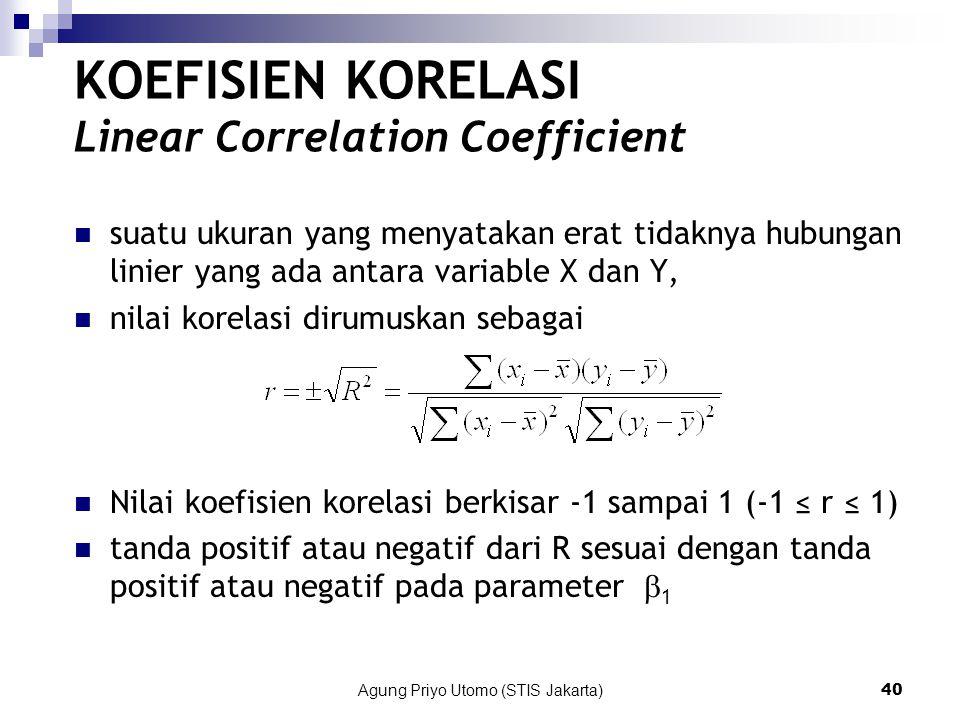 Agung Priyo Utomo (STIS Jakarta)40 KOEFISIEN KORELASI Linear Correlation Coefficient suatu ukuran yang menyatakan erat tidaknya hubungan linier yang ada antara variable X dan Y, nilai korelasi dirumuskan sebagai Nilai koefisien korelasi berkisar -1 sampai 1 (-1 ≤ r ≤ 1) tanda positif atau negatif dari R sesuai dengan tanda positif atau negatif pada parameter  1