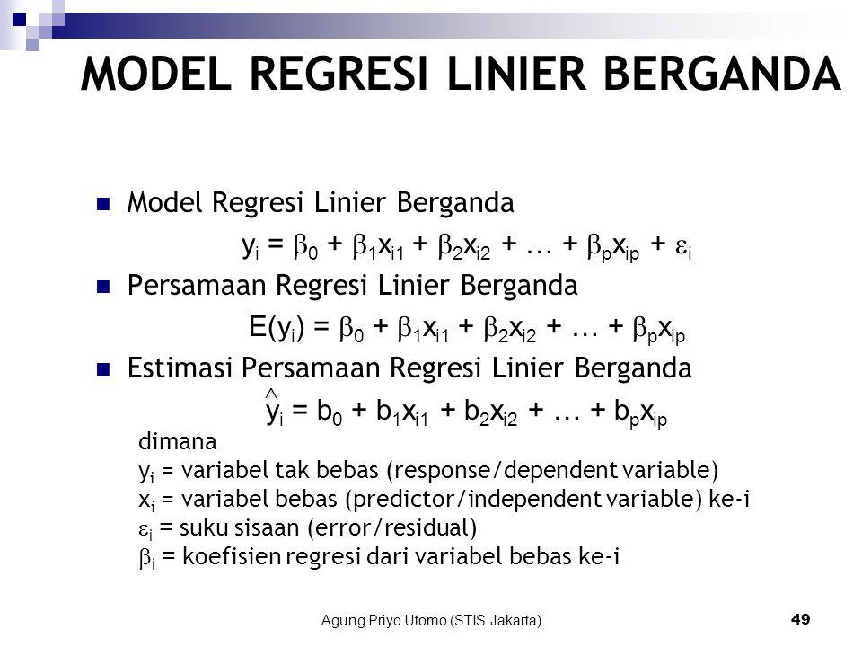Agung Priyo Utomo (STIS Jakarta)49 MODEL REGRESI LINIER BERGANDA Model Regresi Linier Berganda y i =  0 +  1 x i1 +  2 x i2 + … +  p x ip +  i Persamaan Regresi Linier Berganda E(y i ) =  0 +  1 x i1 +  2 x i2 + … +  p x ip Estimasi Persamaan Regresi Linier Berganda y i = b 0 + b 1 x i1 + b 2 x i2 + … + b p x ip dimana y i = variabel tak bebas (response/dependent variable) x i = variabel bebas (predictor/independent variable) ke-i  i = suku sisaan (error/residual)  i = koefisien regresi dari variabel bebas ke-i ^