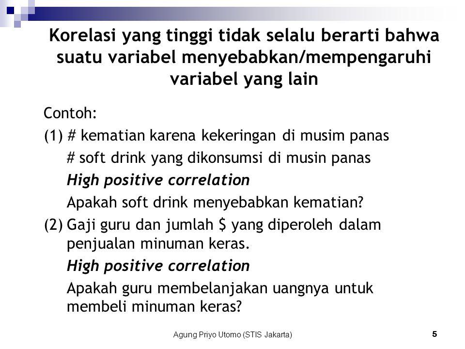 Agung Priyo Utomo (STIS Jakarta)5 Contoh: (1) # kematian karena kekeringan di musim panas # soft drink yang dikonsumsi di musin panas High positive correlation Apakah soft drink menyebabkan kematian.