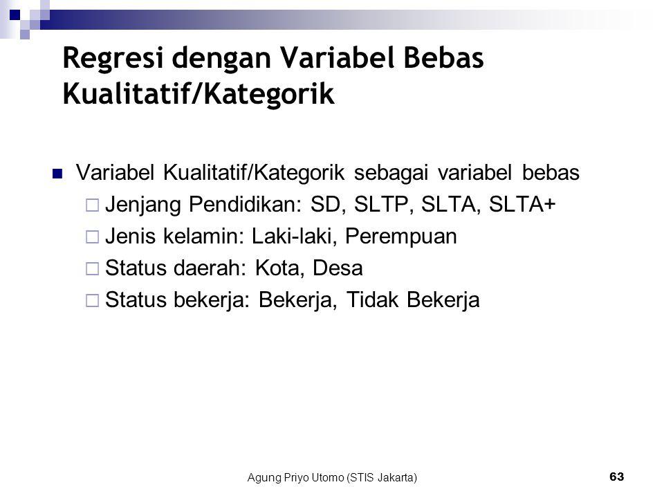 Agung Priyo Utomo (STIS Jakarta)63 Regresi dengan Variabel Bebas Kualitatif/Kategorik Variabel Kualitatif/Kategorik sebagai variabel bebas  Jenjang Pendidikan: SD, SLTP, SLTA, SLTA+  Jenis kelamin: Laki-laki, Perempuan  Status daerah: Kota, Desa  Status bekerja: Bekerja, Tidak Bekerja