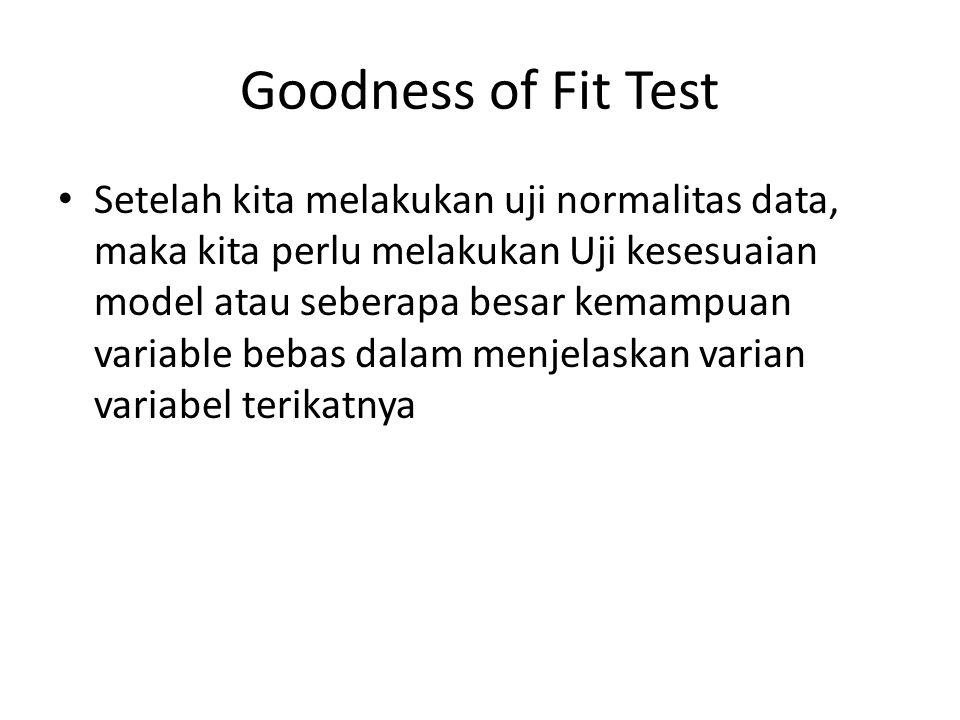 Goodness of Fit Test Setelah kita melakukan uji normalitas data, maka kita perlu melakukan Uji kesesuaian model atau seberapa besar kemampuan variable