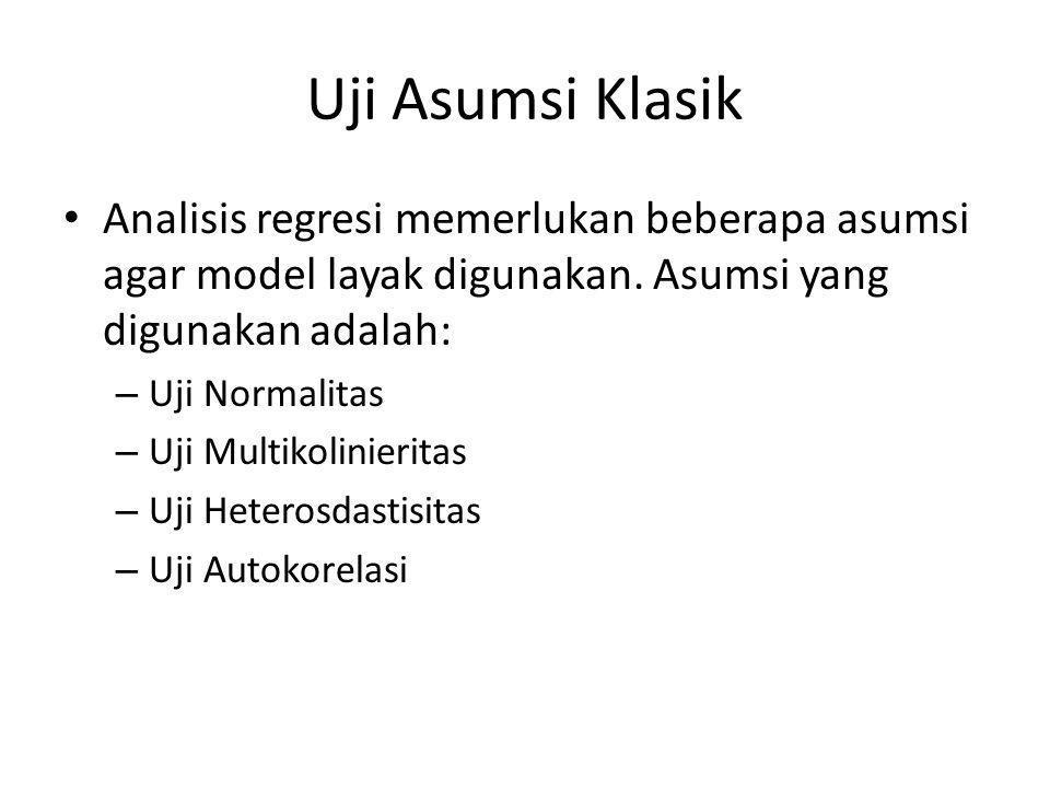Uji Asumsi Klasik Analisis regresi memerlukan beberapa asumsi agar model layak digunakan. Asumsi yang digunakan adalah: – Uji Normalitas – Uji Multiko