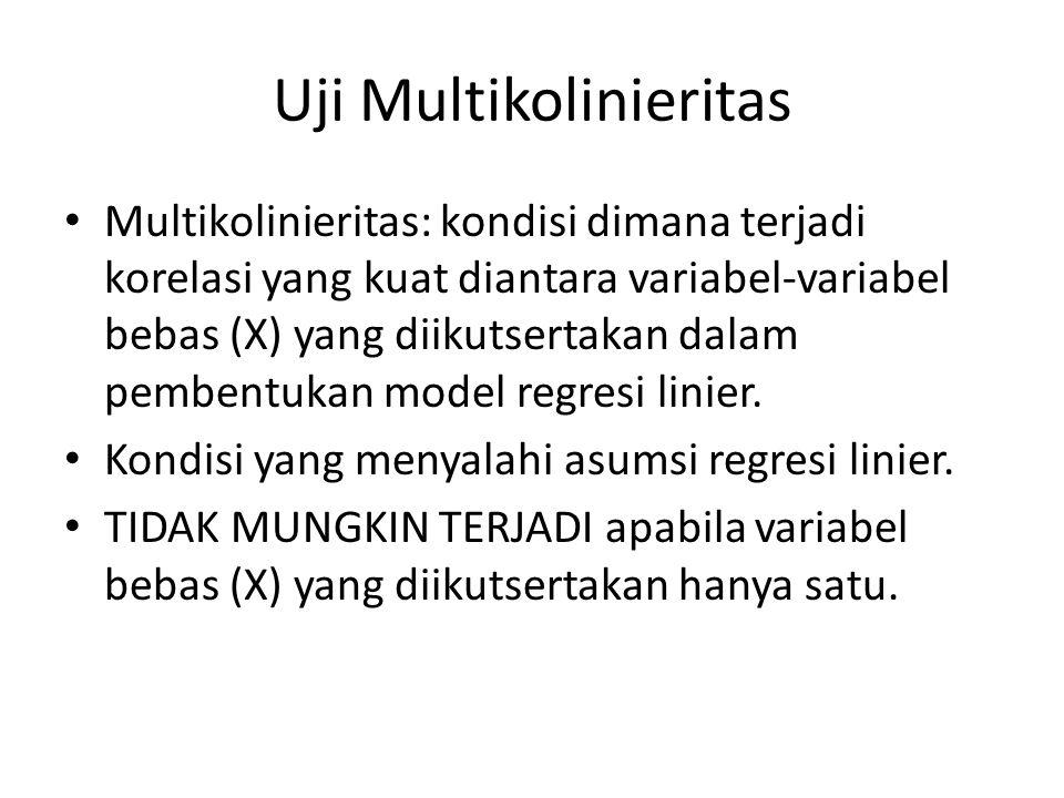 Uji Multikolinieritas Multikolinieritas: kondisi dimana terjadi korelasi yang kuat diantara variabel-variabel bebas (X) yang diikutsertakan dalam pemb