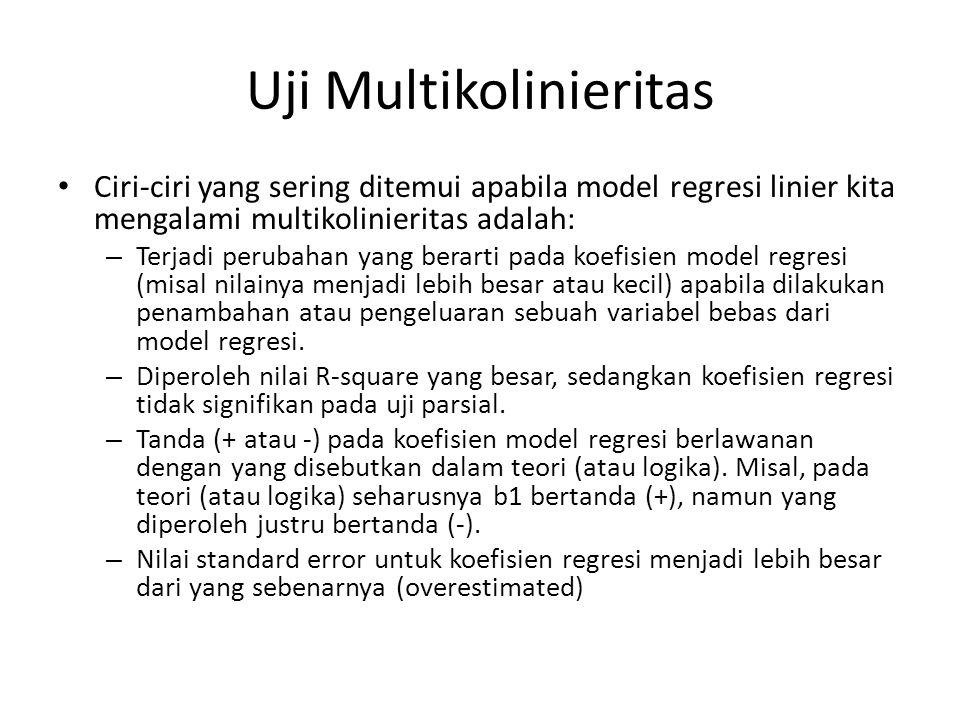 Uji Multikolinieritas Untuk mendeteksi apakah model regresi mengalami multikolinieritas, dapat diperiksa menggunakan VIF (Variance Inflation Factor).