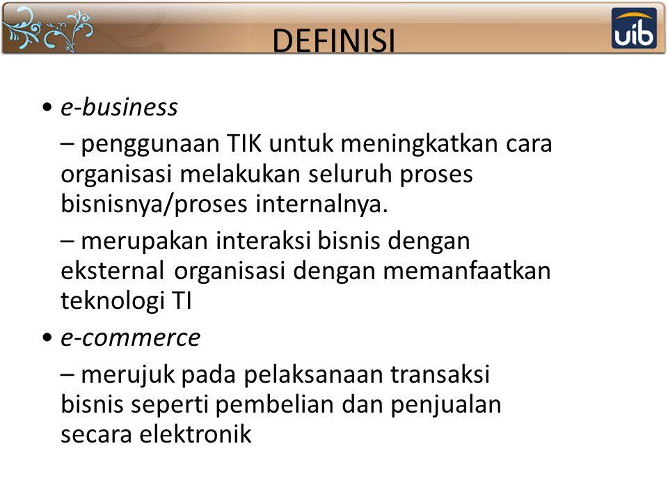 DEFINISI e-business – penggunaan TIK untuk meningkatkan cara organisasi melakukan seluruh proses bisnisnya/proses internalnya. – merupakan interaksi b