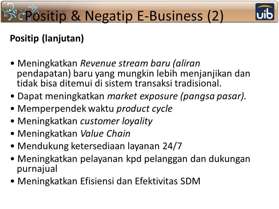 Positip & Negatip E-Business (2) Positip (lanjutan) Meningkatkan Revenue stream baru (aliran pendapatan) baru yang mungkin lebih menjanjikan dan tidak