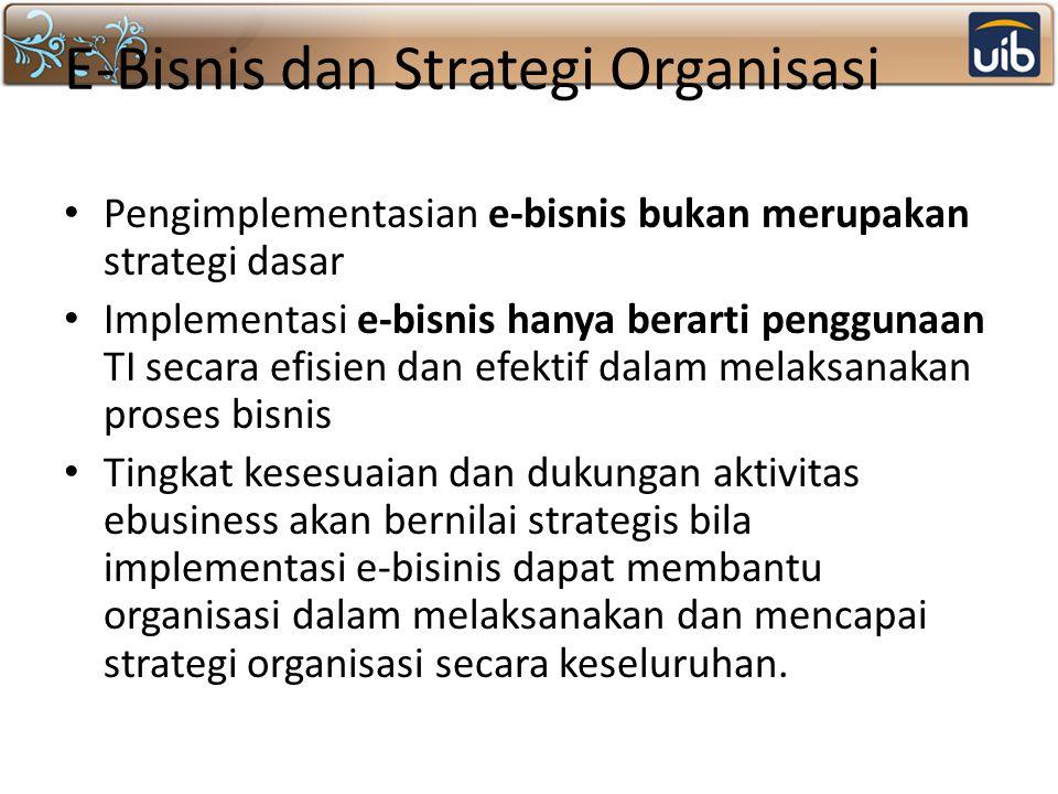 E-Bisnis dan Strategi Organisasi Pengimplementasian e-bisnis bukan merupakan strategi dasar Implementasi e-bisnis hanya berarti penggunaan TI secara e