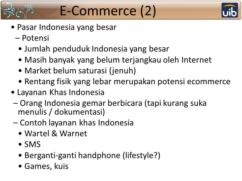 E-Commerce (2) Pasar Indonesia yang besar – Potensi Jumlah penduduk Indonesia yang besar Masih banyak yang belum terjangkau oleh Internet Market belum