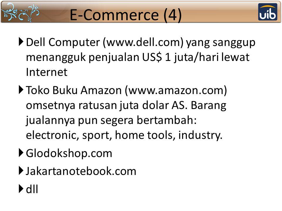E-Commerce (4)  Dell Computer (www.dell.com) yang sanggup menangguk penjualan US$ 1 juta/hari lewat Internet  Toko Buku Amazon (www.amazon.com) omse