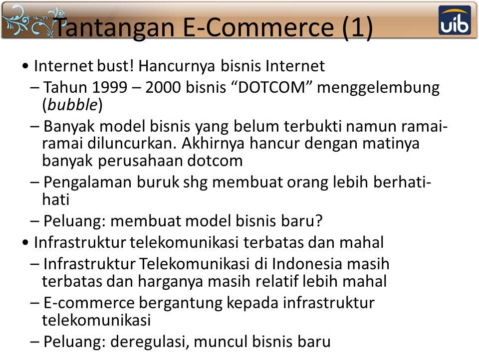"""Tantangan E-Commerce (1) Internet bust! Hancurnya bisnis Internet – Tahun 1999 – 2000 bisnis """"DOTCOM"""" menggelembung (bubble) – Banyak model bisnis yan"""