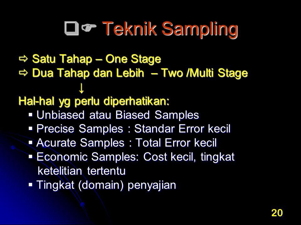 20  Teknik Sampling  Satu Tahap – One Stage  Dua Tahap dan Lebih – Two /Multi Stage ↓ Hal-hal yg perlu diperhatikan:  Unbiased atau Biased Sample