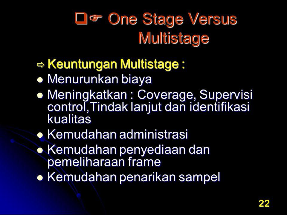 22  One Stage Versus Multistage  Keuntungan Multistage : Menurunkan biaya Menurunkan biaya Meningkatkan : Coverage, Supervisi control,Tindak lanjut