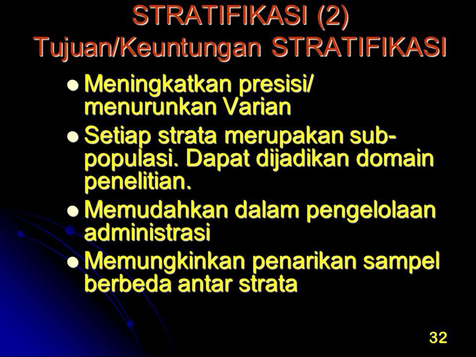 32 STRATIFIKASI (2) Tujuan/Keuntungan STRATIFIKASI STRATIFIKASI (2) Tujuan/Keuntungan STRATIFIKASI Meningkatkan presisi/ menurunkan Varian Meningkatka