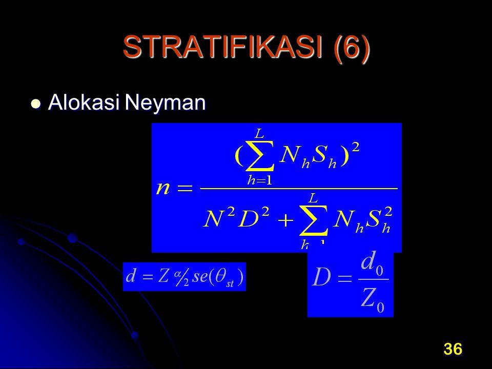 36 STRATIFIKASI (6) Alokasi Neyman Alokasi Neyman