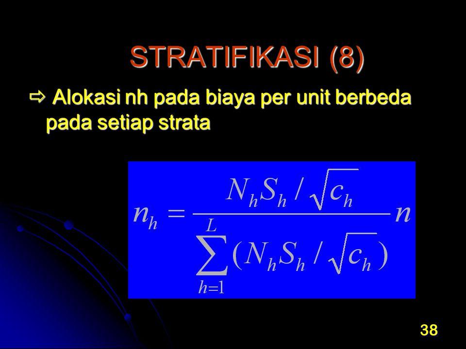 38 STRATIFIKASI (8)  Alokasi nh pada biaya per unit berbeda pada setiap strata